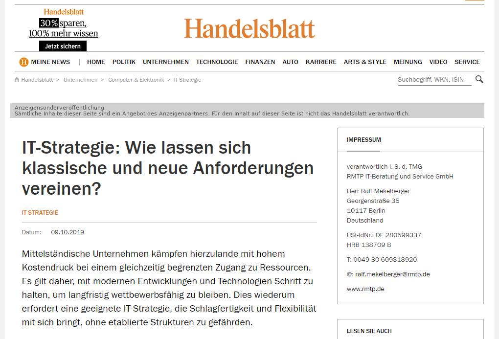 Handlesblatt Artikel IT Strategie